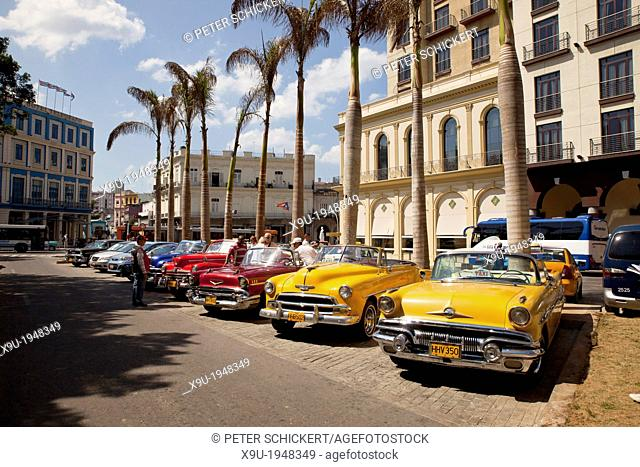 vintage US cars from the 50`s in the streets of Havana, Cuba, Caribbean
