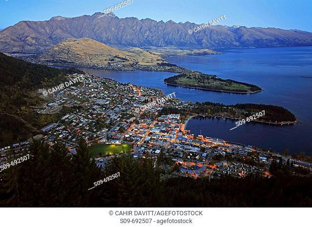 Aerial view of Queenstown looking beyond to Deer Park Heights, Kelvin Peninsula, Kelvin Heights, Kamarau River Mouth and Lake Wakatipu
