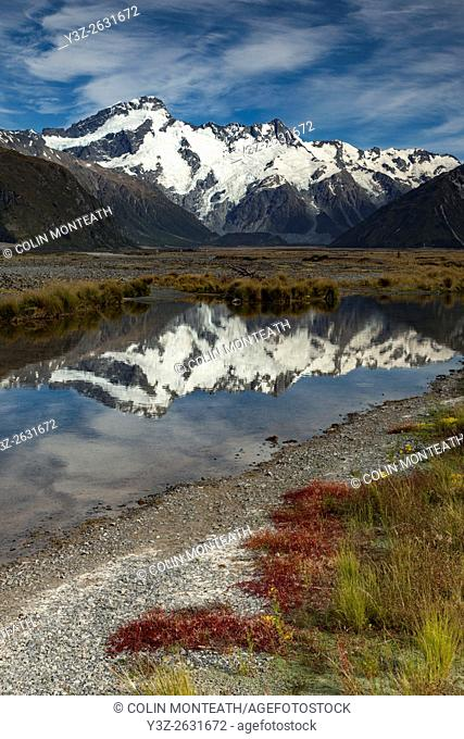 Mt Sefton reflection in Tasman river valley, Aoraki / Mount Cook National Park