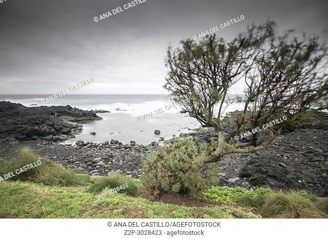 Wavy ocean in Mosteiros coast Sao Miguel island. Azores archipielago, Portugal