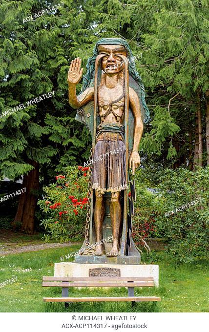 Weeping Cedar Woman carving by artist Godfrey Stephens, Tofino, British Columbia, Canada