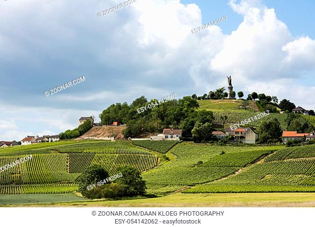 Chatillon-sur-Marne in the Champane district with vineyards on the hills and statue of Urbanus II