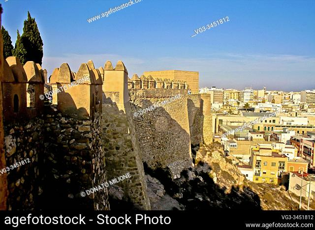 Almería, Andalusia, Spain, Europe. . The arab fortified citadel of the Alcazaba, built by Abd ar-Rahman III in the 10th century