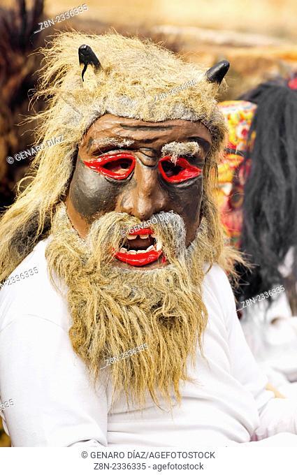 warrior jurru closeup in antruejo carnival of Alija del infantado, Leon, Spain