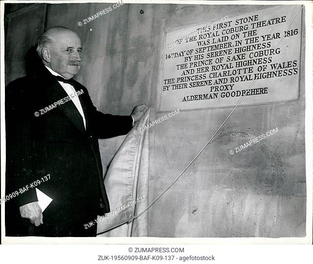 Sep. 09, 1956 - The Old VIC Foundation Stone Unveiled, Ceremony at Famous Theater: Lord Esher this evening performed the ceremony of Unveiling the Old VIC...