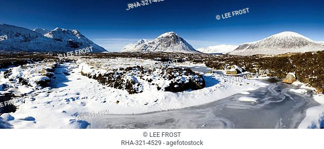 View across snow-covered Rannoch Moor to Buachaille Etive Mor, Highland, Scotland, United Kingdom, Europe