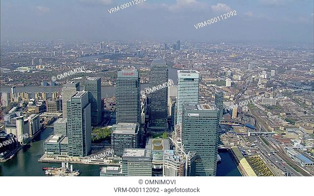 Aerial view of Canary Wharf and London skyline