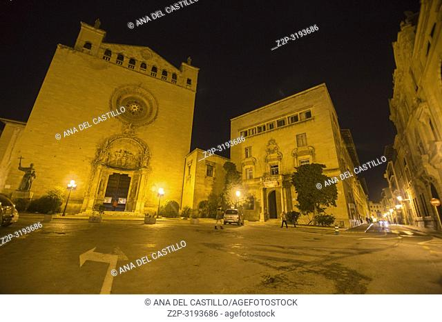 San Francisco church in Palma de Majorca by night. Spain
