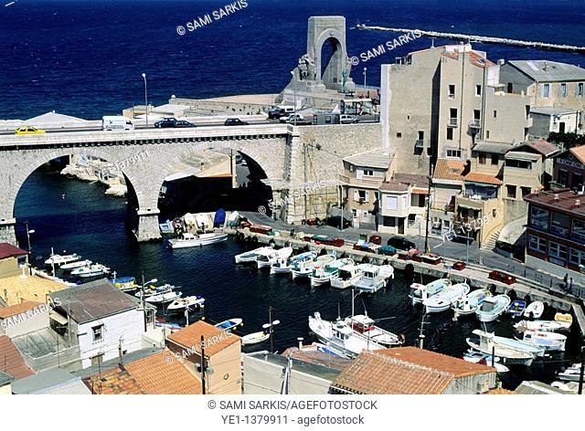 Bridge crossing over the port at Vallon des Auffes, Marseille, France
