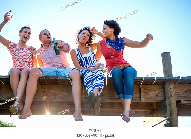 Young friends sitting together on jetty, low angle view