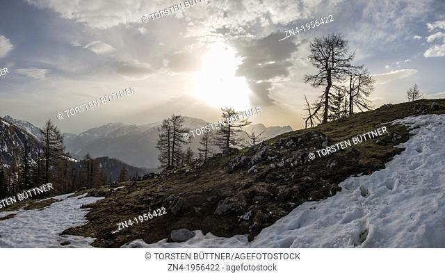 Sunset on Kleiner Pyhrgas in Kalkalpen National Park. Austria