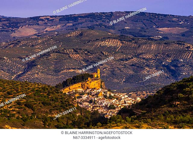 The hilltop town of Montefrio, Granada Province, Andalusia, Spain with the Church of La Villa above it. Montefrio was called one of the top ten towns with the...