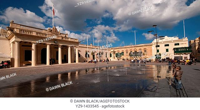 The refurbished Palace Square formerly St George's Square in Valletta, Malta  Previously a car park the square is now enjoyed by locals and tourists with the...