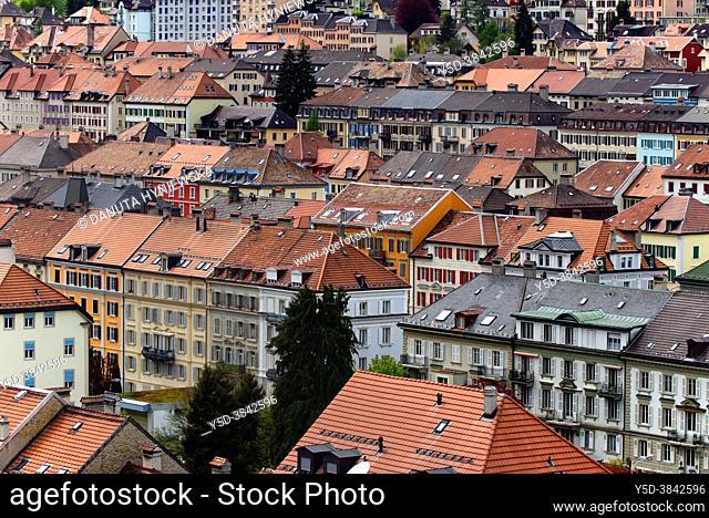 'Watch Valley', View for strictly geometrically designed city center of La Chaux-de-Fonds, UNESCO World Heritage, La Chaux-de-Fond in canton of Neuchâtel is...