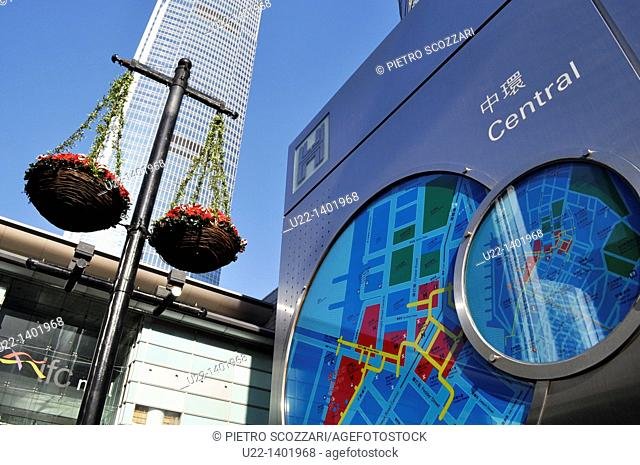 Hong Kong: the Central's map, by the IFC (International Financial Centre) Mall