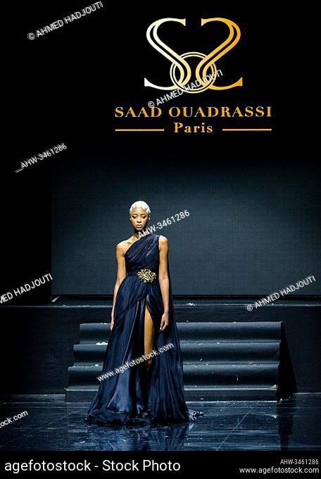 PARIS, FRANCE - JANUARY 20: A model walks the runway during the Saad Ouadrassi Show As part of the Oriental Fashion show during the Paris Fashion Week on...