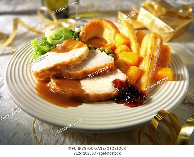 Traditional roast turkey dinner