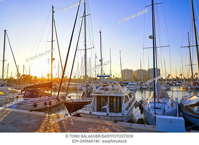Guardamar del Segura marina Dunas boats in Alicante at sunset of Spain