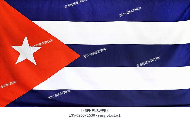 Cuba Flag real fabric seamless close up with wind waves