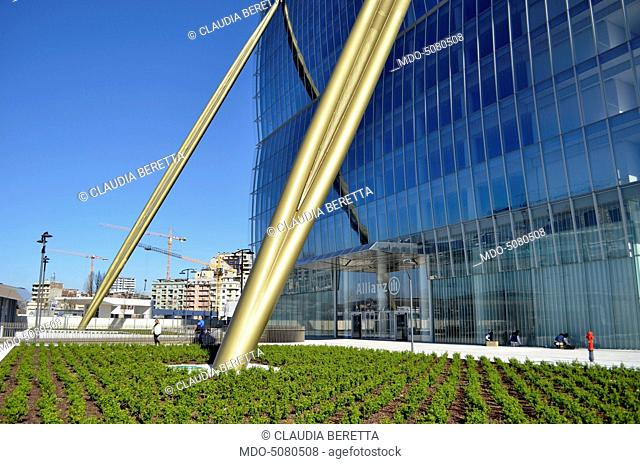 The Isozaki Tower also known as The Straight One built in Milan and designed by the architects Arata Isozaki and Andrea Maffei
