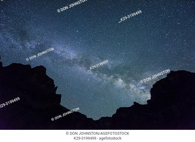 Night sky and Milky Way over the walls of the Grand Canyon at mile 61, Grand Canyon National Park, Arizona, USA
