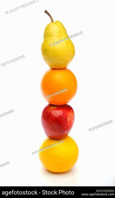 colorful fresh fruits totem