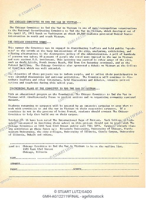 A Vietnam War era leaflet from The Chicago Committee to End the War in Vietnam advocating the involvement of citizens and students in their movement and...