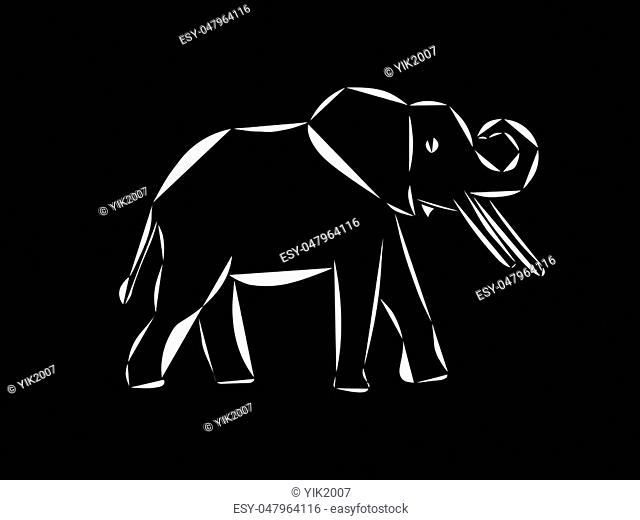 Schematic logo icon of running elephant on the black background
