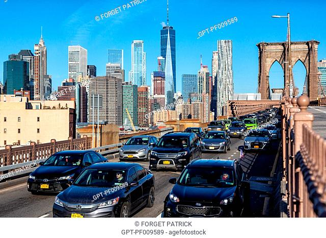 TAILBACK, TRAFFIC ON THE BROOKLYN BRIDGE, MANHATTAN, NEW YORK, UNITED STATES, USA