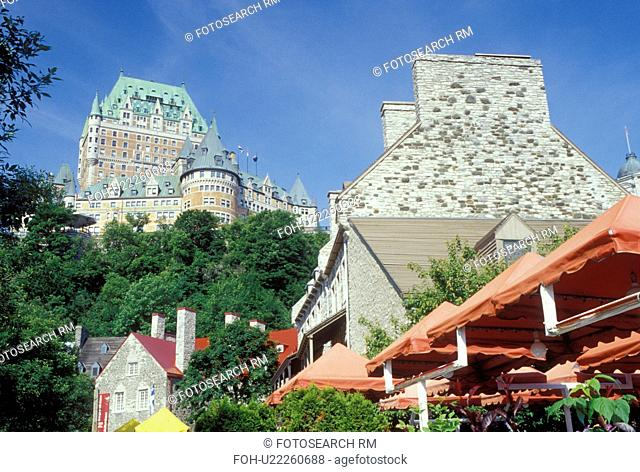 Quebec City, Canada, Quebec, View of Chateau Frontenac from Place Royale in Vieux Quebec (Old Quebec)