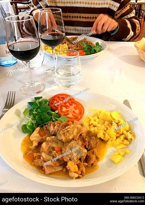 Stewed lamd with vegetables. Spain
