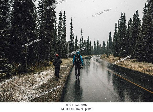 Canada, British Columbia, Yoho National Park, two men hiking on Yoho Valley Road in snowfall