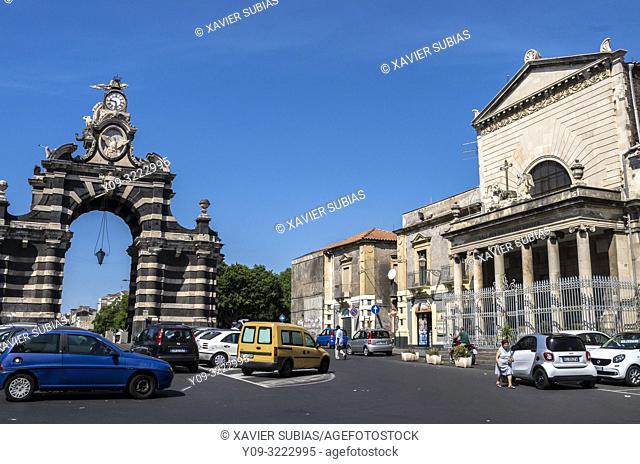 Crocifisso Maiorana square, Porta Garibaldi and Curch of Santissimo Crocefisso Maiorana , Catania, Sicily, Italy