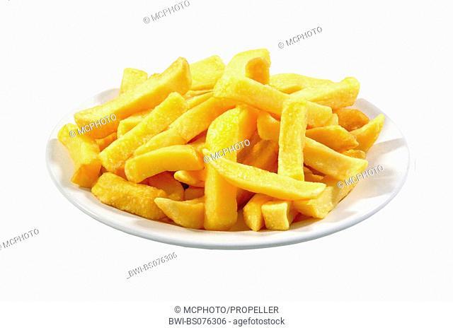 potato (Solanum tuberosum), potato chips on plate