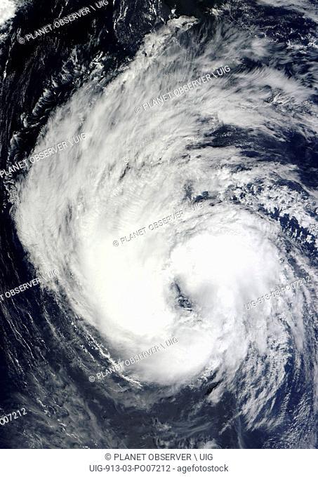 Satellite view of Tropical Storm Leslie in 2012 over Bermuda island in the Atlantic Ocean. Image taken on September 9, 2012