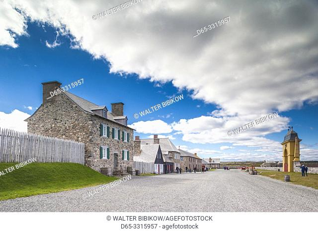 Canada, Nova Scotia, Louisbourg, Fortress of Louisbourg National Historic Park, reconstructed buildings looking towards The Frederic Gate