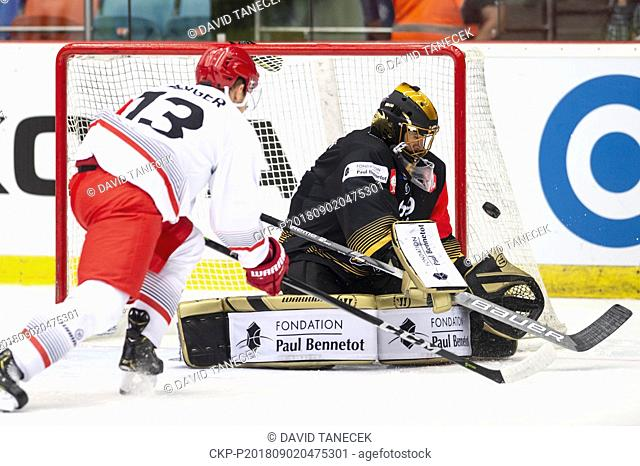 From left hockey players JAN BERGER of Hradec and MATIJA PINTARIC of Rouen in action during the Ice hockey Champions League matches group F Mountfield Hradec...