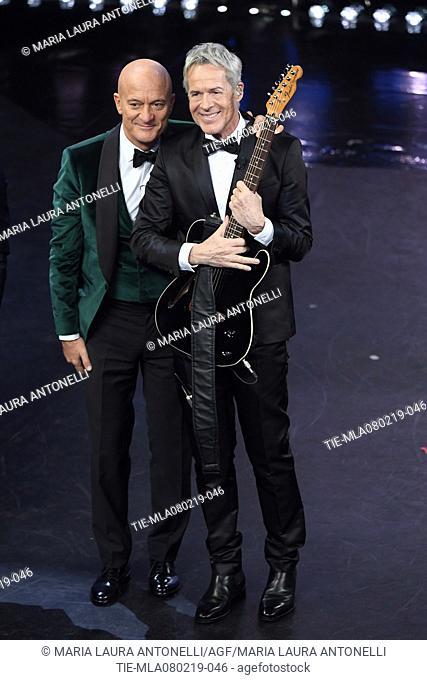 Claudio Bisio, Claudio Baglioni at the 69th Sanremo Music Festival, Sanremo, ITALY-07-02-2019