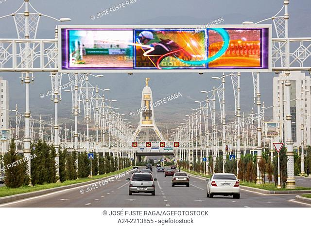 Turkmenistan , Ashgabat City, Main Avenue to the Neutrality Monument