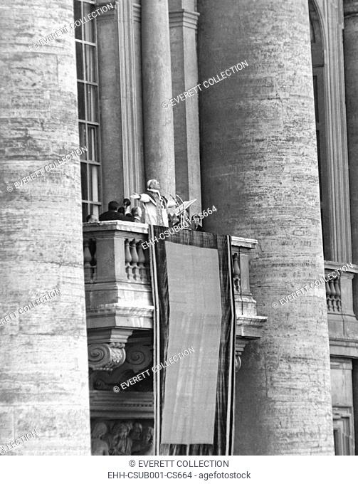 Pope Pius XII addressed a crowd of 150, 000 from the balcony of St. Peter's Basilica, March 24, 1953. (CSU-2015-9-1007)