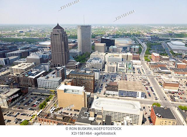 Aerial view of downtown Columbus, Ohio looking north from the James A  Rhodes State Office Building