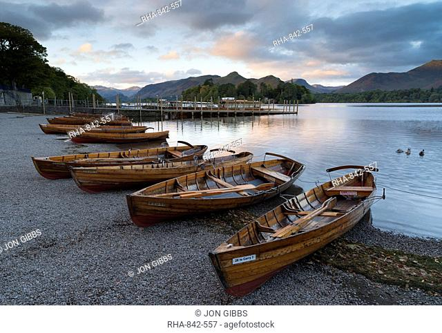 Pleasure boats on the shore at Derwentwater, Lake District National Park, Cumbria, England, United Kingdom, Europe
