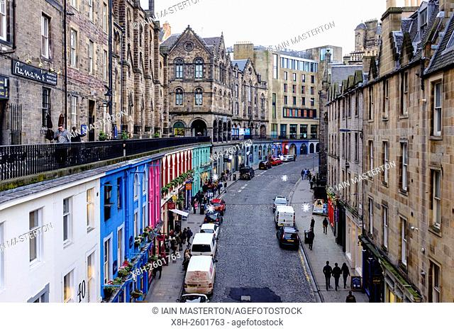 Looking down on historic Victoria Street in Old Town of Edinburgh Scotland United Kingdom