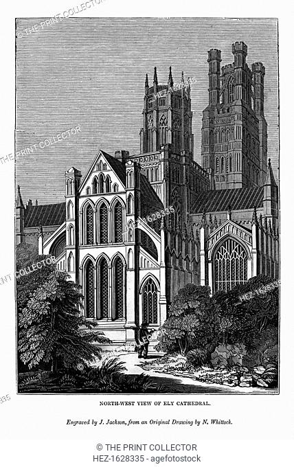 North west view of Ely Cathedral, 1843. An engraving from The Art-Union Scrap Book, Henry G Bohn, London, 1843