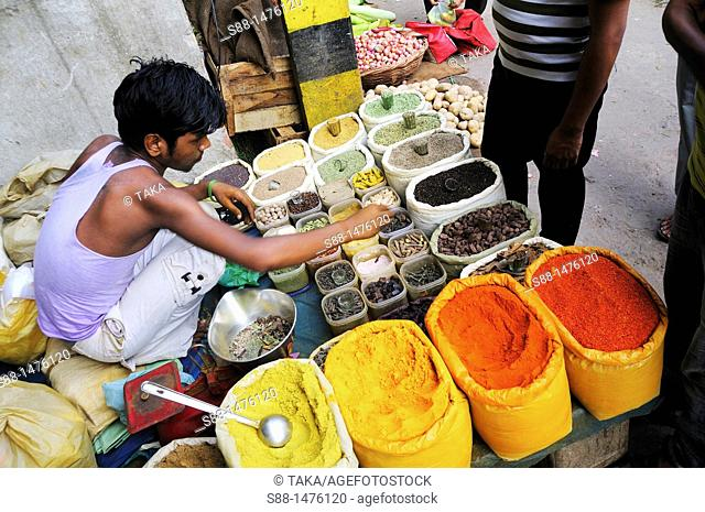 Young man sells spices at the market, New Delhi, India
