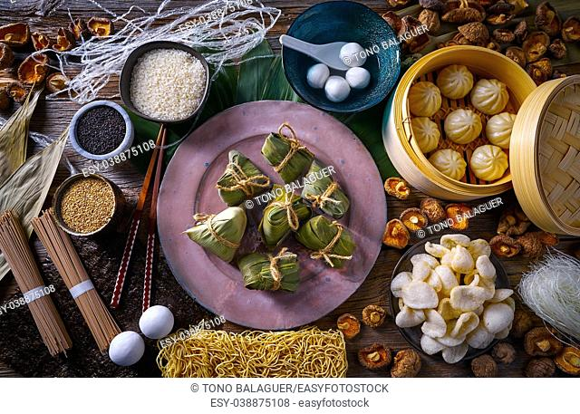Zongzi Rice Dumplings pork buns shiitake noodles sesame asian food mix
