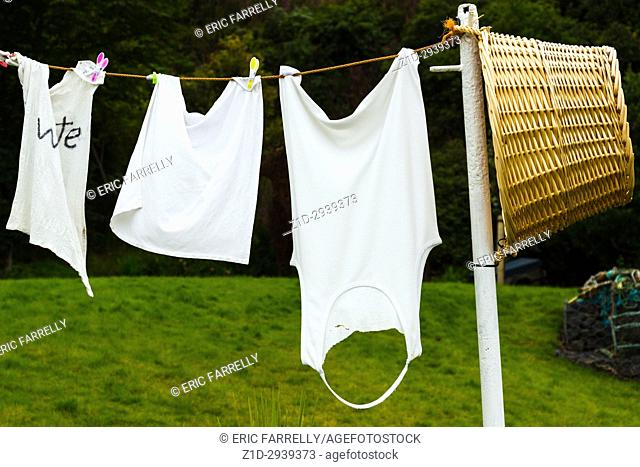 Washing on the line. Pittenweem Fife Scotland UK