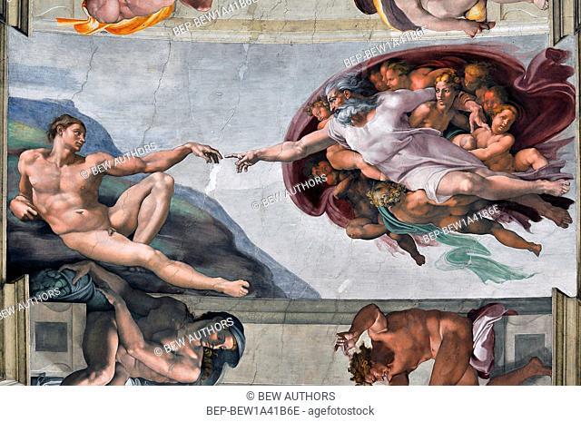 Italy, Lazio, Rome, Vatica, the Cappella Sistina with Creation of Adam', 1508-1512. Artist Michelangelo Buonarroti