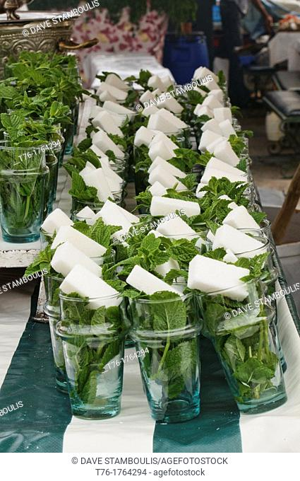 mint and sugar tea glasses en masse at the Djemma el Fna in Marrakech, Morocco