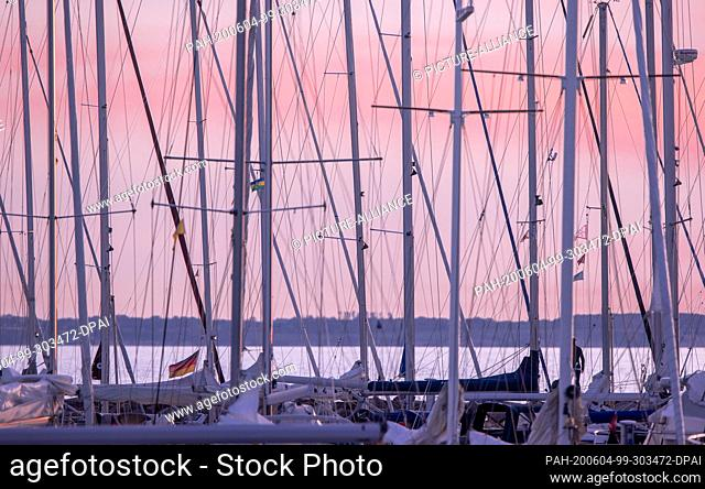 02 June 2020, Mecklenburg-Western Pomerania, Timmendorf (poel): The masts of numerous sailing boats can be seen in the marina on the island of Poel
